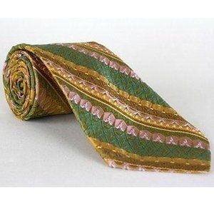 Vtg 60s/70s Dobbs NY Wide Green/Yellow Necktie